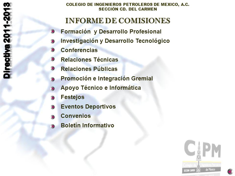 COLEGIO DE INGENIEROS PETROLEROS DE MEXICO, A.C. SECCIÓN CD. DEL CARMEN Formación y Desarrollo Profesional Investigación y Desarrollo Tecnológico Conf