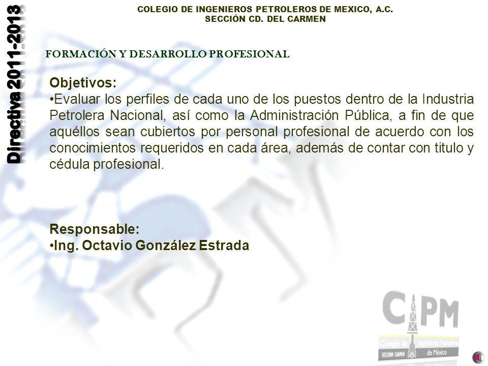 COLEGIO DE INGENIEROS PETROLEROS DE MEXICO, A.C. SECCIÓN CD. DEL CARMEN FORMACIÓN Y DESARROLLO PROFESIONAL Objetivos: Evaluar los perfiles de cada uno
