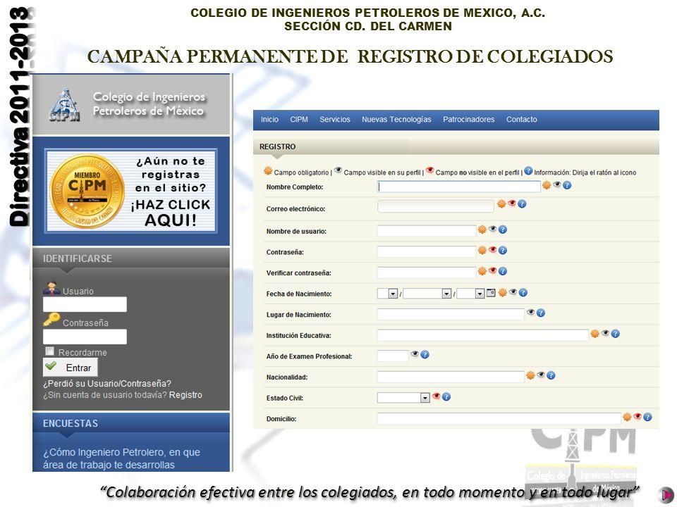 COLEGIO DE INGENIEROS PETROLEROS DE MEXICO, A.C. SECCIÓN CD. DEL CARMEN Colaboración efectiva entre los colegiados, en todo momento y en todo lugar CA