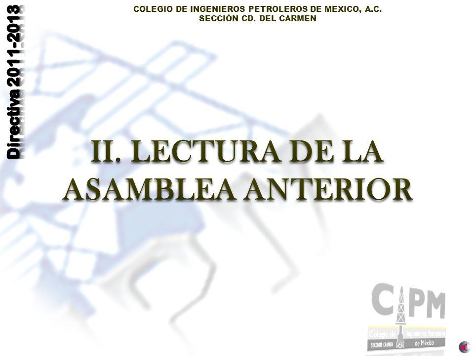 COLEGIO DE INGENIEROS PETROLEROS DE MEXICO, A.C. SECCIÓN CD. DEL CARMEN