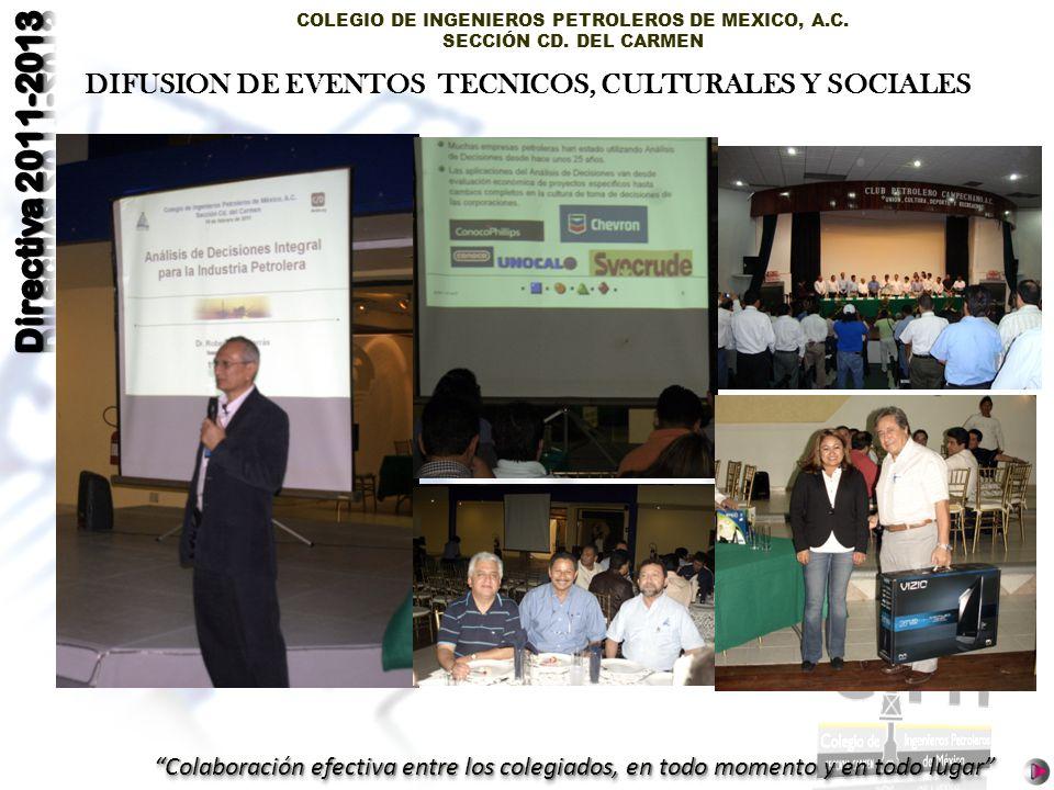 COLEGIO DE INGENIEROS PETROLEROS DE MEXICO, A.C. SECCIÓN CD. DEL CARMEN Colaboración efectiva entre los colegiados, en todo momento y en todo lugar DI
