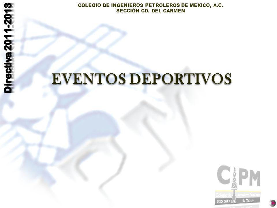 COLEGIO DE INGENIEROS PETROLEROS DE MEXICO, A.C. SECCIÓN CD. DEL CARMEN EVENTOS DEPORTIVOS