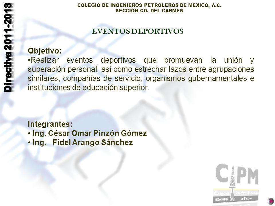 COLEGIO DE INGENIEROS PETROLEROS DE MEXICO, A.C. SECCIÓN CD. DEL CARMEN Objetivo: Realizar eventos deportivos que promuevan la unión y superación pers
