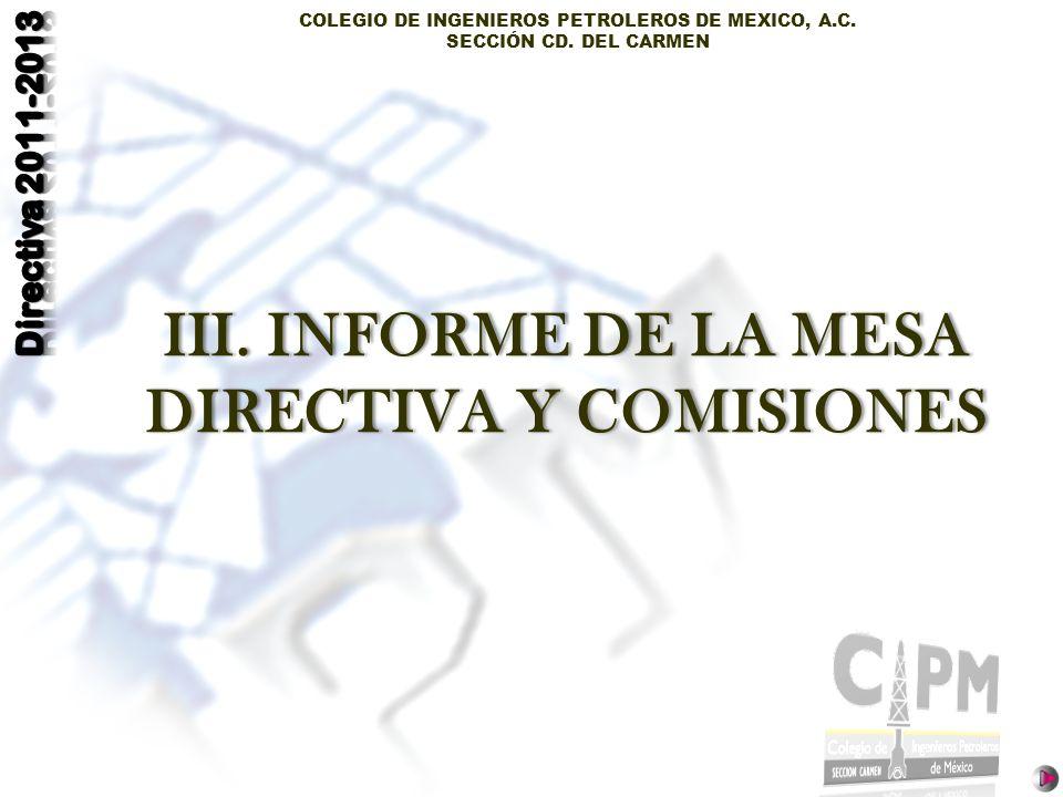 COLEGIO DE INGENIEROS PETROLEROS DE MEXICO, A.C. SECCIÓN CD. DEL CARMEN III. INFORME DE LA MESA DIRECTIVA Y COMISIONES