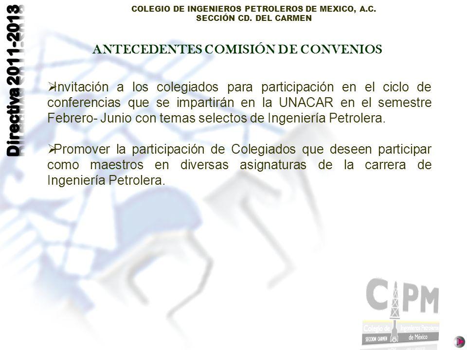 COLEGIO DE INGENIEROS PETROLEROS DE MEXICO, A.C. SECCIÓN CD. DEL CARMEN Invitación a los colegiados para participación en el ciclo de conferencias que