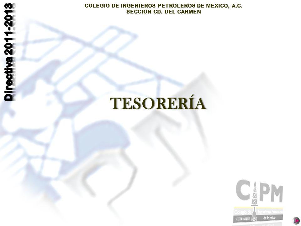 COLEGIO DE INGENIEROS PETROLEROS DE MEXICO, A.C. SECCIÓN CD. DEL CARMEN TESORERÍA