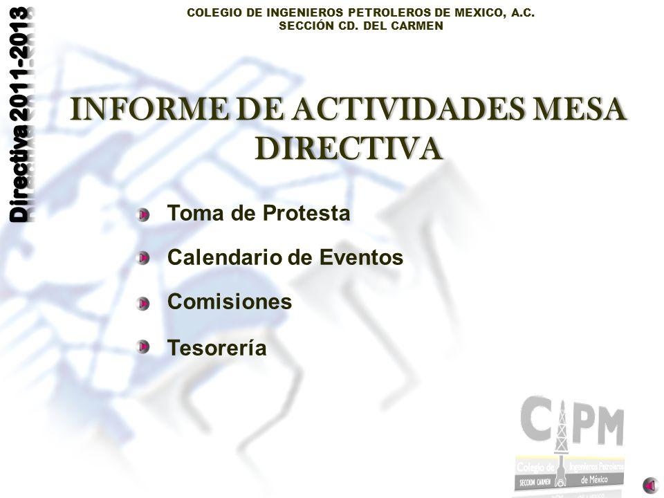 COLEGIO DE INGENIEROS PETROLEROS DE MEXICO, A.C. SECCIÓN CD. DEL CARMEN Toma de Protesta Calendario de Eventos Comisiones Tesorería INFORME DE ACTIVID