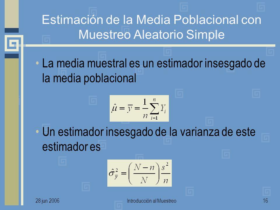 28 jun 2006Introducción al Muestreo16 Estimación de la Media Poblacional con Muestreo Aleatorio Simple La media muestral es un estimador insesgado de la media poblacional Un estimador insesgado de la varianza de este estimador es