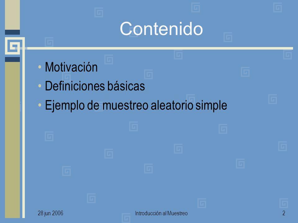 28 jun 2006Introducción al Muestreo2 Contenido Motivación Definiciones básicas Ejemplo de muestreo aleatorio simple