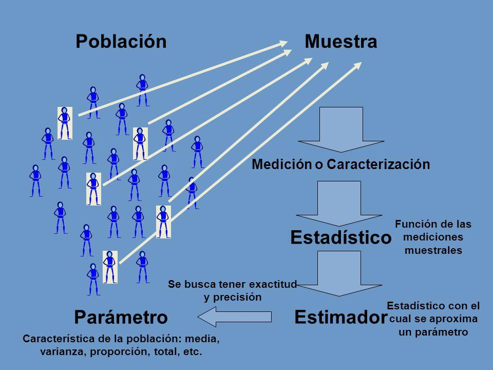PoblaciónMuestra Medición o Caracterización Parámetro Estadístico Estimador Función de las mediciones muestrales Estadístico con el cual se aproxima un parámetro Característica de la población: media, varianza, proporción, total, etc.