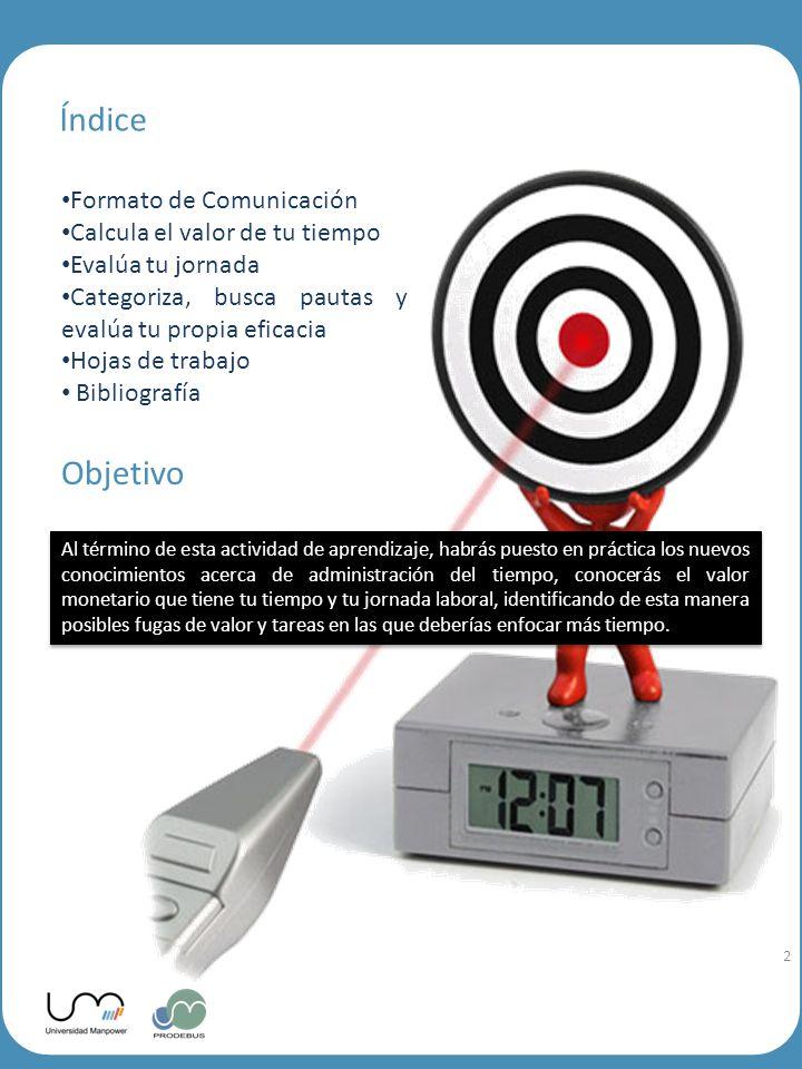 2 Índice Formato de Comunicación Calcula el valor de tu tiempo Evalúa tu jornada Categoriza, busca pautas y evalúa tu propia eficacia Hojas de trabajo