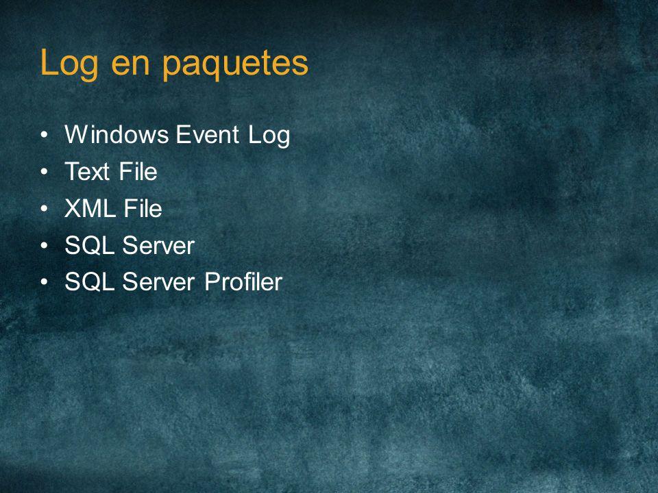 Log en paquetes Windows Event Log Text File XML File SQL Server SQL Server Profiler