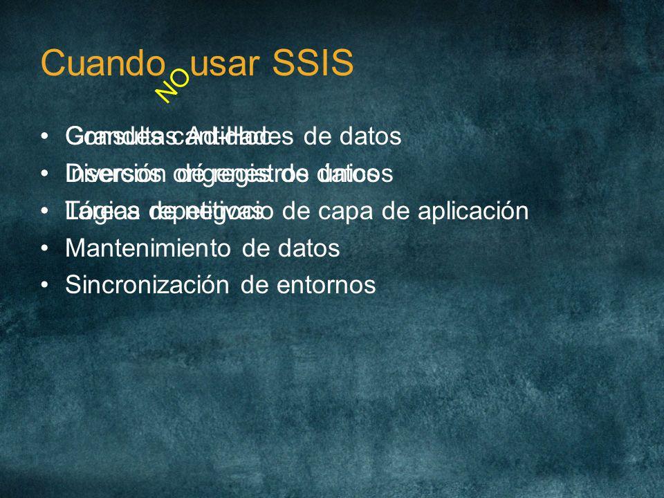 Cuando usar SSIS Grandes cantidades de datos Diversos orígenes de datos Tareas repetitivas Mantenimiento de datos Sincronización de entornos NO Consul
