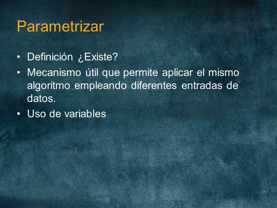 Parametrizar Definición ¿Existe? Mecanismo útil que permite aplicar el mismo algoritmo empleando diferentes entradas de datos. Uso de variables