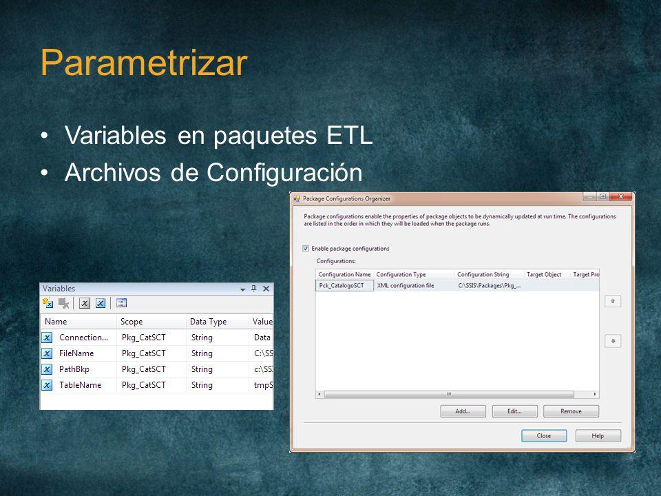 Parametrizar Variables en paquetes ETL Archivos de Configuración