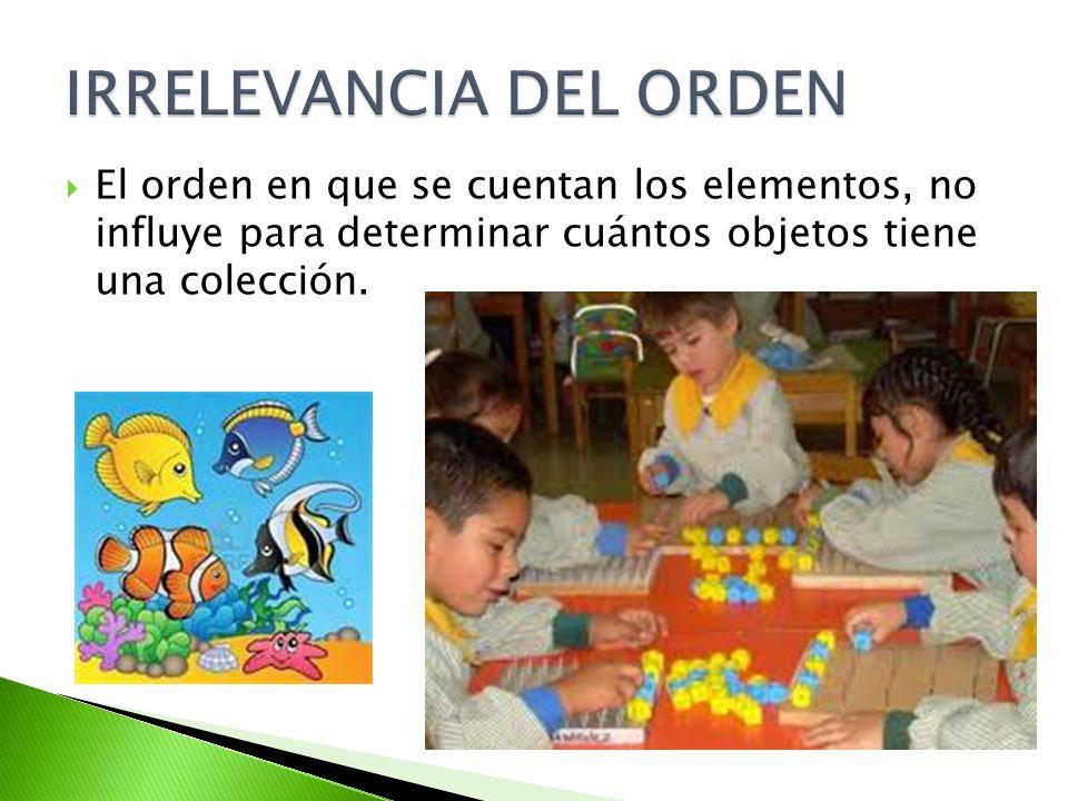 El orden en que se cuentan los elementos, no influye para determinar cuántos objetos tiene una colección.