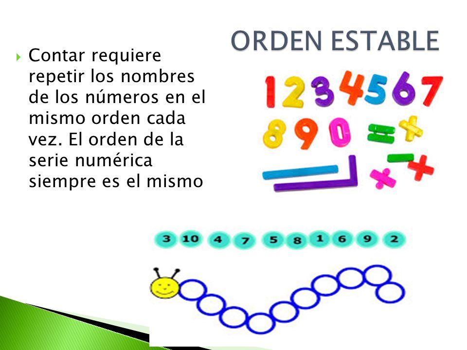 Contar requiere repetir los nombres de los números en el mismo orden cada vez. El orden de la serie numérica siempre es el mismo