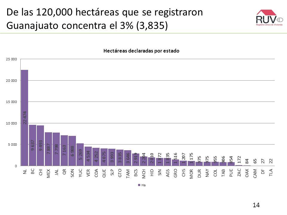 De las 120,000 hectáreas que se registraron Guanajuato concentra el 3% (3,835) 14