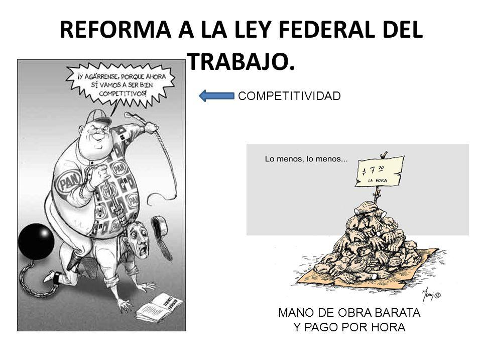 REFORMA A LA LEY FEDERAL DEL TRABAJO. COMPETITIVIDAD MANO DE OBRA BARATA Y PAGO POR HORA
