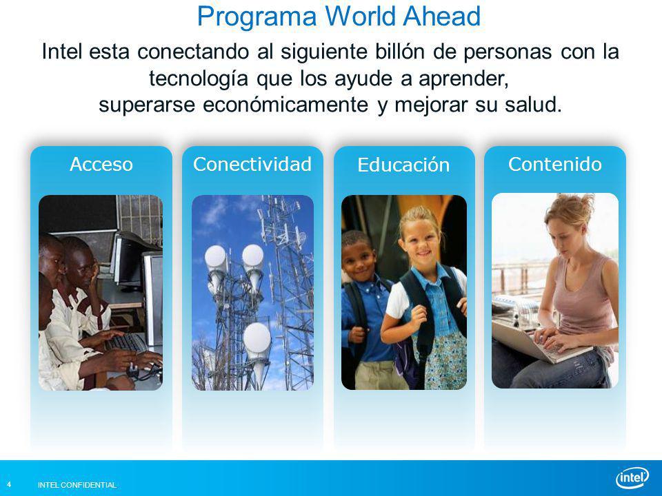 INTEL CONFIDENTIAL 4 Intel esta conectando al siguiente billón de personas con la tecnología que los ayude a aprender, superarse económicamente y mejorar su salud.