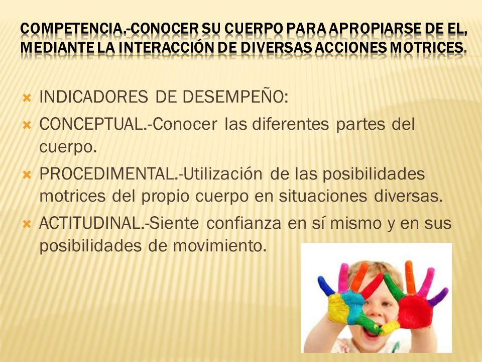 INDICADORES DE DESEMPEÑO: CONCEPTUAL.-Conocer las diferentes partes del cuerpo.