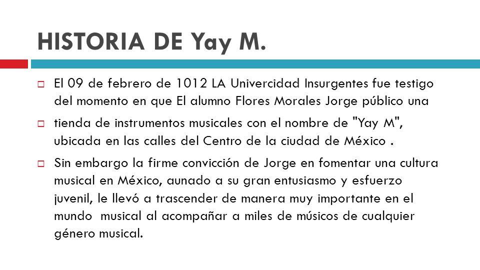 HISTORIA DE Yay M. El 09 de febrero de 1012 LA Univercidad Insurgentes fue testigo del momento en que El alumno Flores Morales Jorge público una tiend