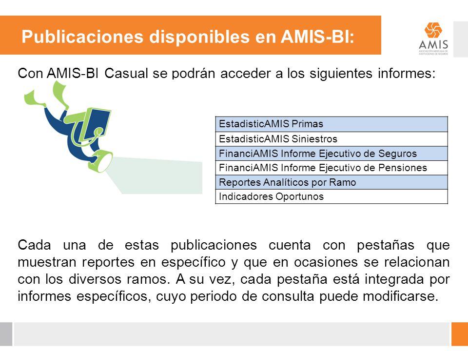 Publicaciones disponibles en AMIS-BI: Con AMIS-BI Casual se podrán acceder a los siguientes informes: Cada una de estas publicaciones cuenta con pesta