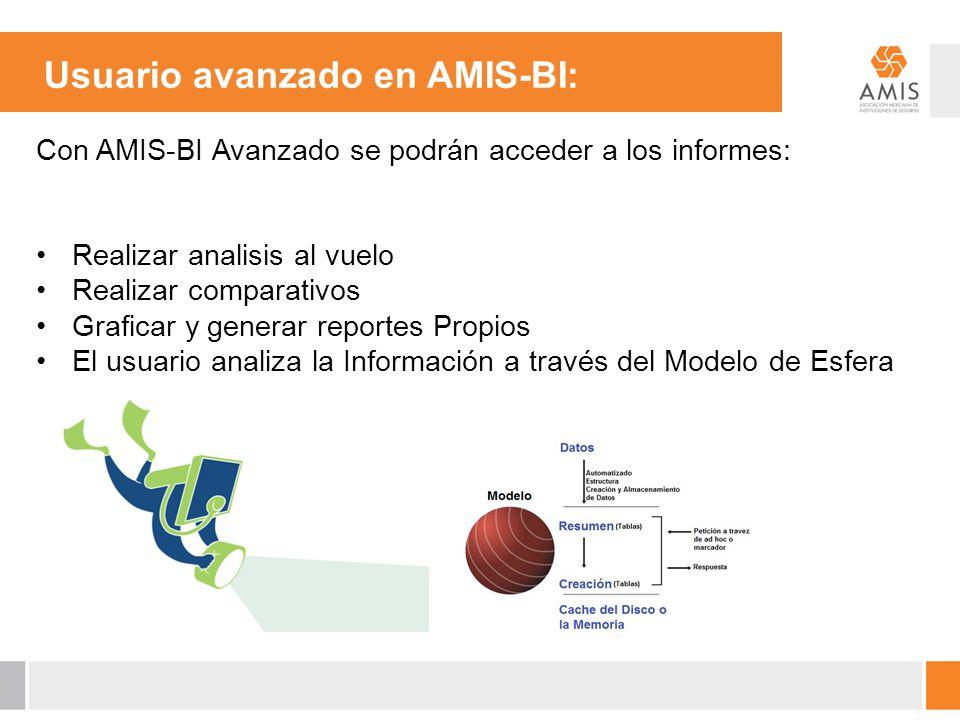 Usuario avanzado en AMIS-BI: Con AMIS-BI Avanzado se podrán acceder a los informes: Realizar analisis al vuelo Realizar comparativos Graficar y genera