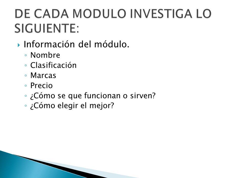 Información del módulo. Nombre Clasificación Marcas Precio ¿Cómo se que funcionan o sirven? ¿Cómo elegir el mejor?