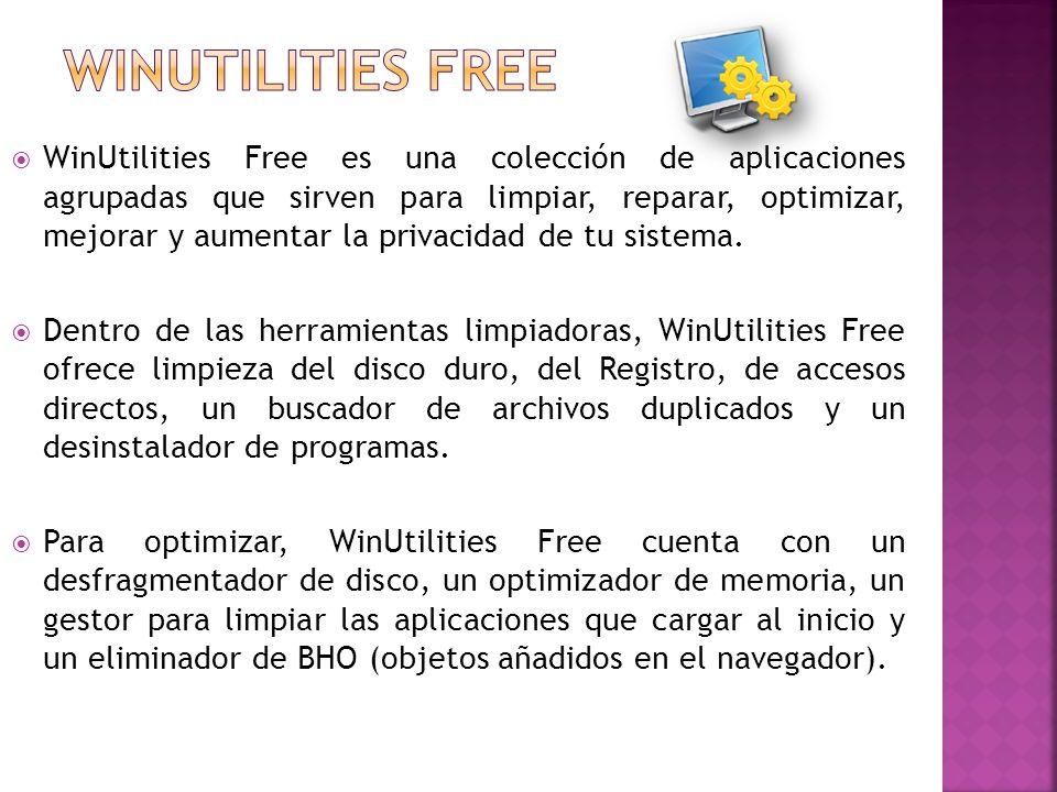WinUtilities Free es una colección de aplicaciones agrupadas que sirven para limpiar, reparar, optimizar, mejorar y aumentar la privacidad de tu sistema.