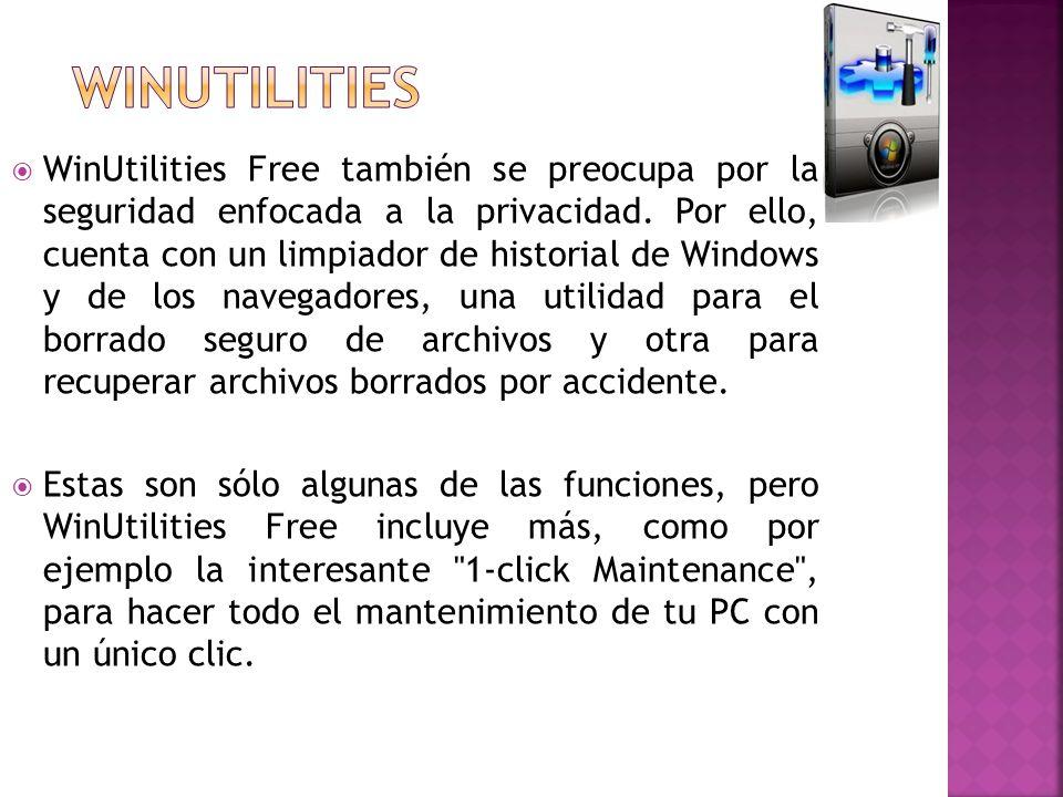 WinUtilities Free también se preocupa por la seguridad enfocada a la privacidad. Por ello, cuenta con un limpiador de historial de Windows y de los na