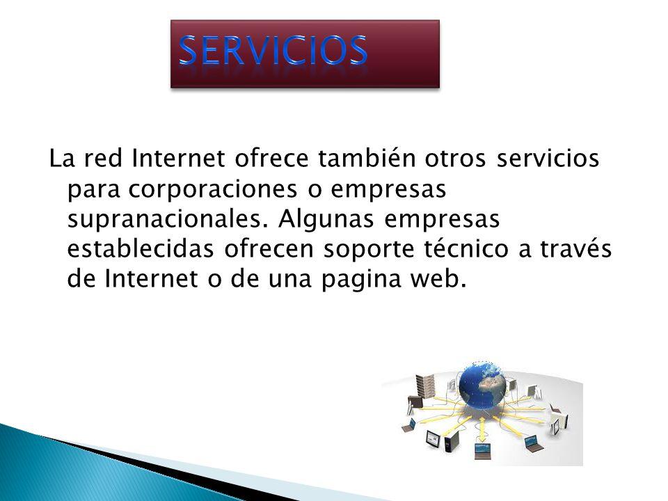 La red Internet ofrece también otros servicios para corporaciones o empresas supranacionales. Algunas empresas establecidas ofrecen soporte técnico a