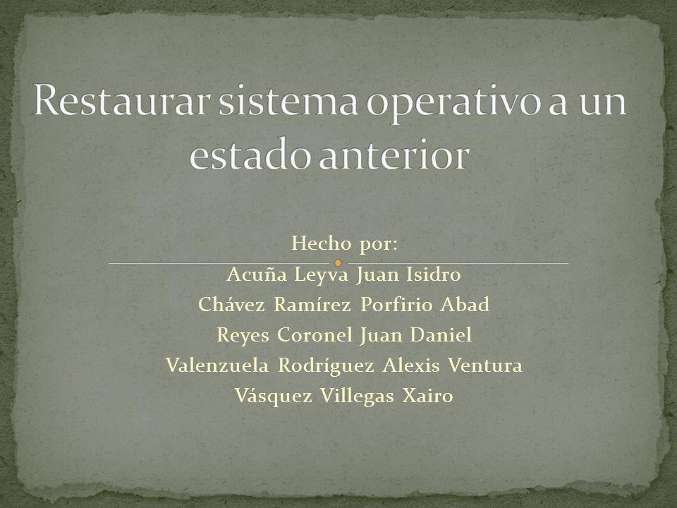 NOS APARECERA UN CUADRO DE DIALOGO LLAMADO SELECCIONE UN PUNTO DE RESTAURACION EN EL CUAL SELECCIONAREMOS EL PUNTO QUE HEMOS CREADO.
