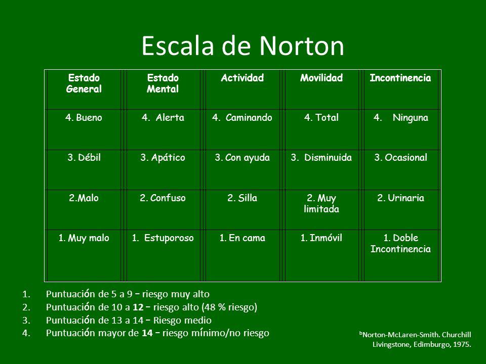 Escala de Norton Estado General Estado Mental ActividadMovilidadIncontinencia 4. Bueno4. Alerta4. Caminando4. Total4. Ninguna 3. Débil3. Apático3. Con