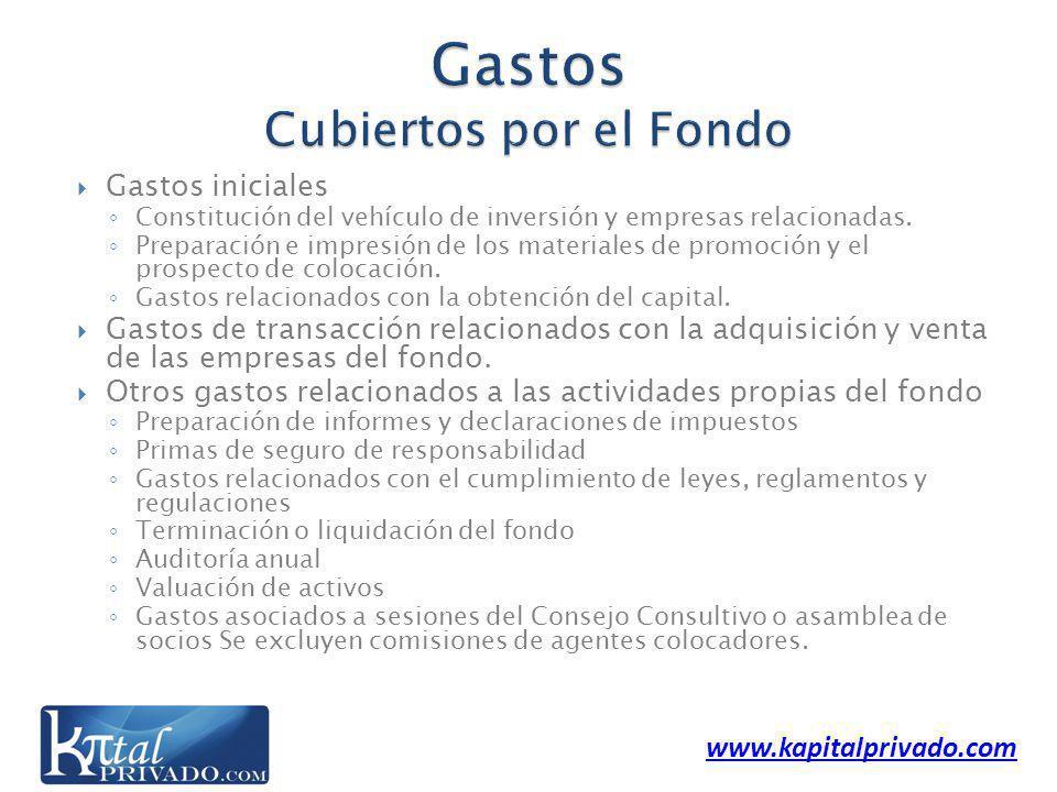 www.kapitalprivado.com Gastos iniciales Constitución del vehículo de inversión y empresas relacionadas.
