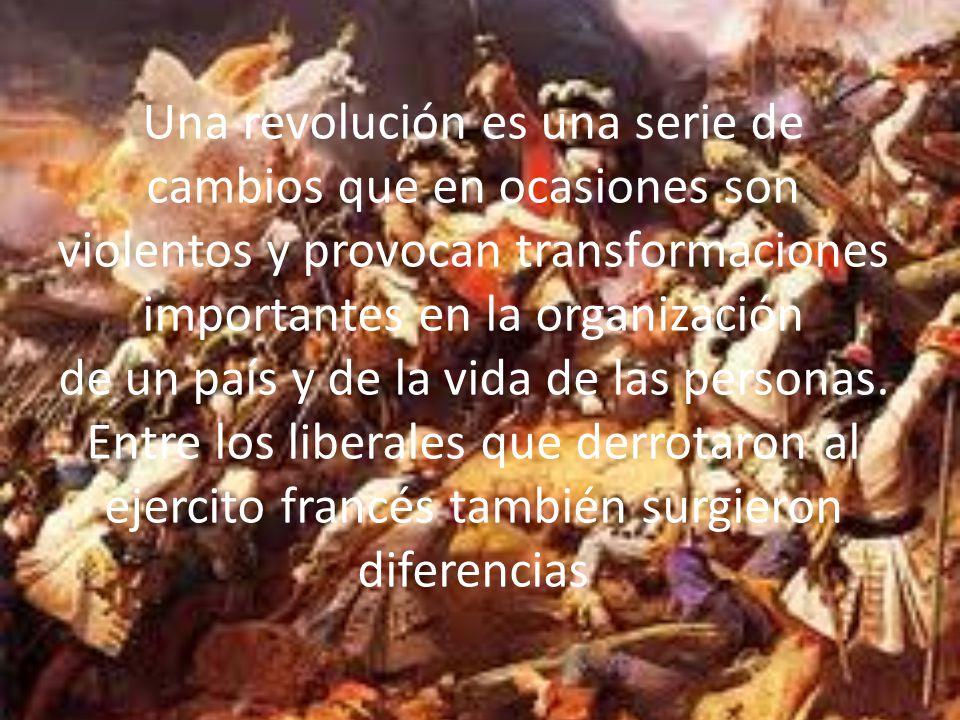 Una revolución es una serie de cambios que en ocasiones son violentos y provocan transformaciones importantes en la organización de un país y de la vida de las personas.
