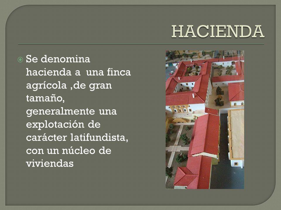 Se denomina hacienda a una finca agrícola,de gran tamaño, generalmente una explotación de carácter latifundista, con un núcleo de viviendas