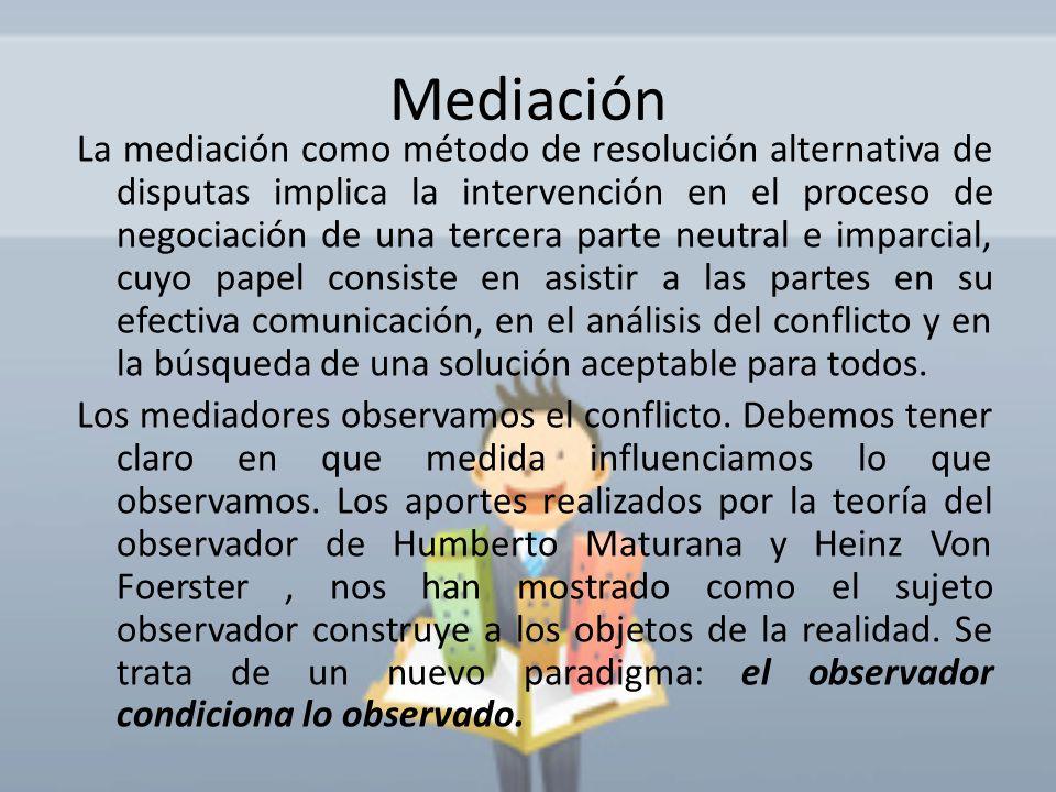 Mediación La mediación como método de resolución alternativa de disputas implica la intervención en el proceso de negociación de una tercera parte neu