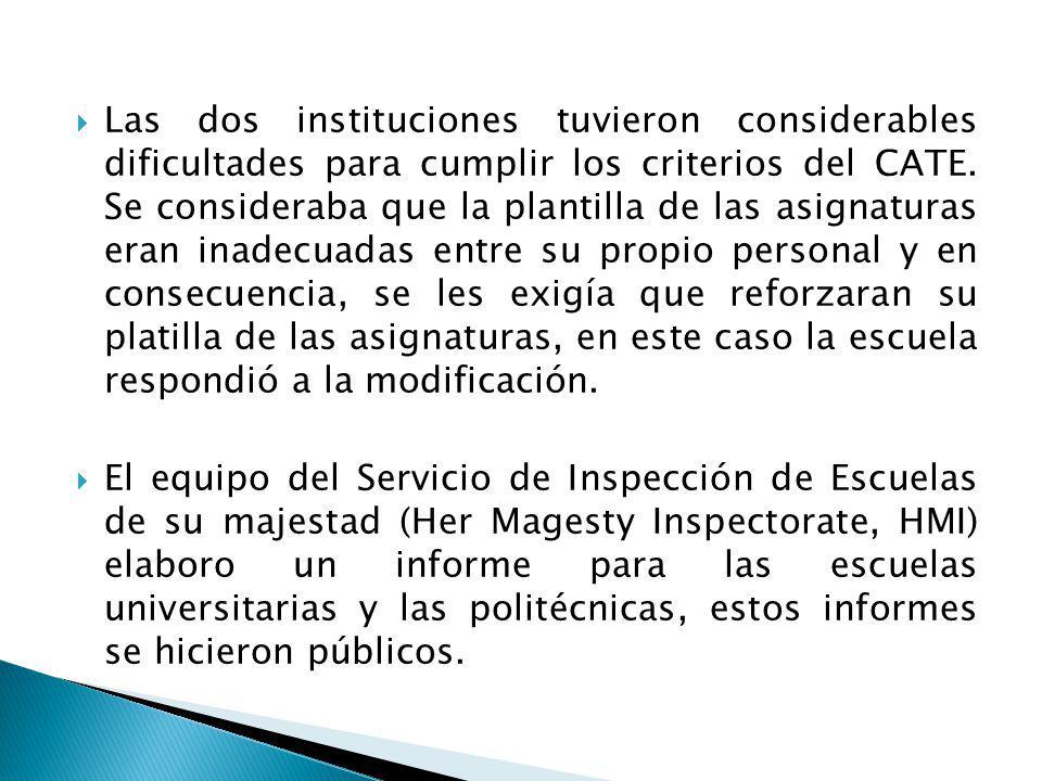 Las dos instituciones tuvieron considerables dificultades para cumplir los criterios del CATE.