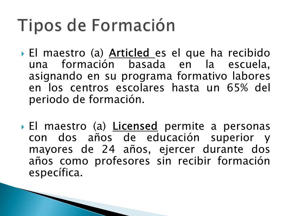 El maestro (a) Articled es el que ha recibido una formación basada en la escuela, asignando en su programa formativo labores en los centros escolares hasta un 65% del periodo de formación.