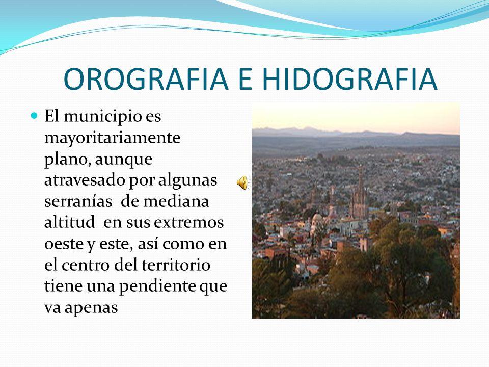 OROGRAFIA E HIDOGRAFIA El municipio es mayoritariamente plano, aunque atravesado por algunas serranías de mediana altitud en sus extremos oeste y este, así como en el centro del territorio tiene una pendiente que va apenas