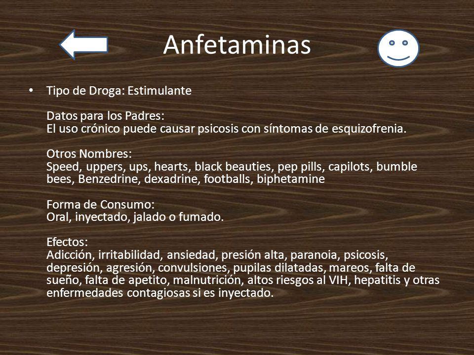 Anfetaminas Tipo de Droga: Estimulante Datos para los Padres: El uso crónico puede causar psicosis con síntomas de esquizofrenia. Otros Nombres: Speed
