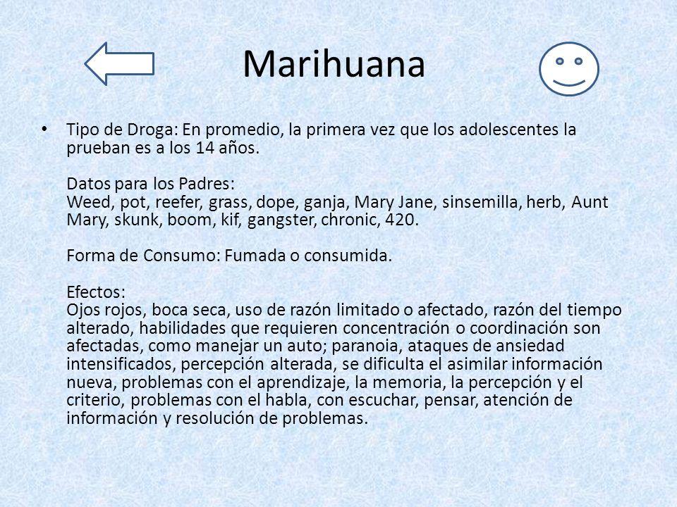 Marihuana Tipo de Droga: En promedio, la primera vez que los adolescentes la prueban es a los 14 años. Datos para los Padres: Weed, pot, reefer, grass
