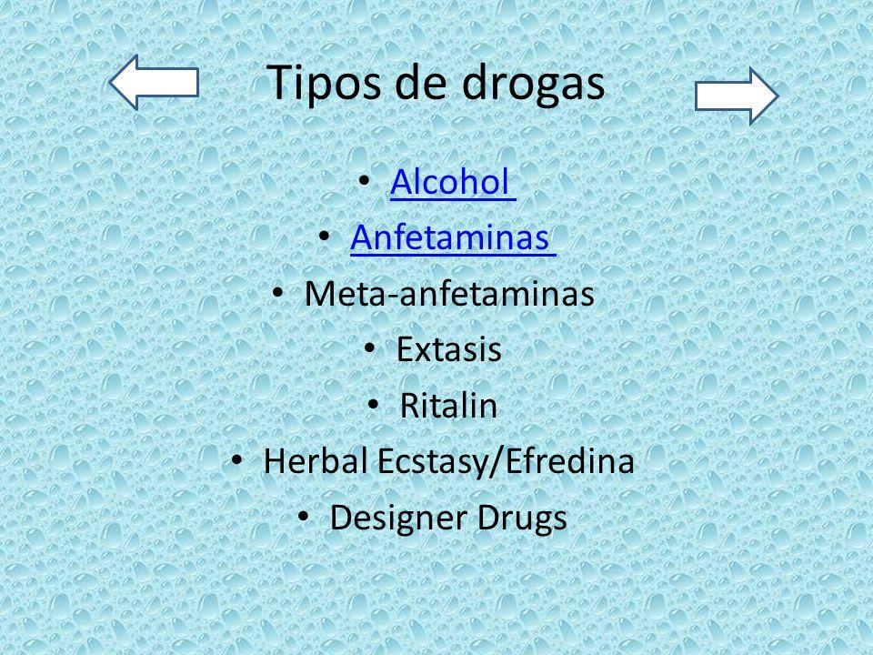 Tipos de drogas Alcohol Anfetaminas Meta-anfetaminas Extasis Ritalin Herbal Ecstasy/Efredina Designer Drugs