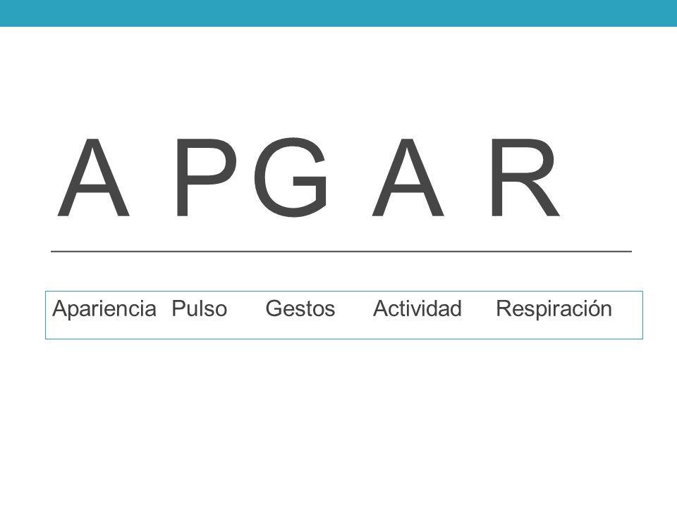 A PG A R Apariencia Pulso Gestos Actividad Respiración