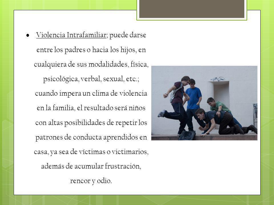 Violencia Intrafamiliar; puede darse entre los padres o hacia los hijos, en cualquiera de sus modalidades, física, psicológica, verbal, sexual, etc.;