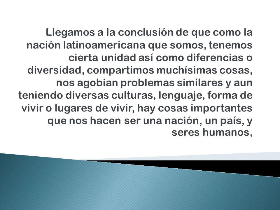 Llegamos a la conclusión de que como la nación latinoamericana que somos, tenemos cierta unidad así como diferencias o diversidad, compartimos muchísimas cosas, nos agobian problemas similares y aun teniendo diversas culturas, lenguaje, forma de vivir o lugares de vivir, hay cosas importantes que nos hacen ser una nación, un país, y seres humanos,