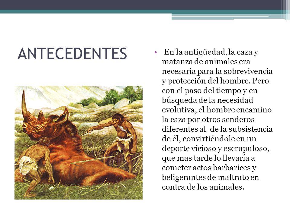 ANTECEDENTES En la antigüedad, la caza y matanza de animales era necesaria para la sobrevivencia y protección del hombre.