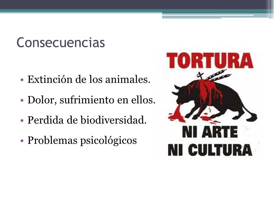 Consecuencias Extinción de los animales.Dolor, sufrimiento en ellos.