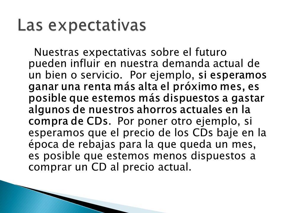 Nuestras expectativas sobre el futuro pueden influir en nuestra demanda actual de un bien o servicio. Por ejemplo, si esperamos ganar una renta más al